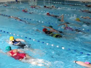 Deelnemers aan het zwemmen