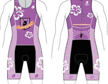Voor- en achterkant van de trisuits