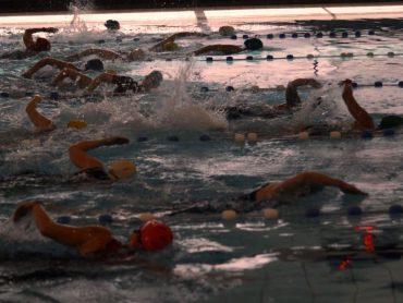 Deelnemers kort na de zwemstart in het zwembad